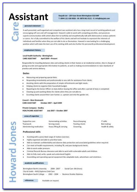 Personal Care Assistant Resume Template