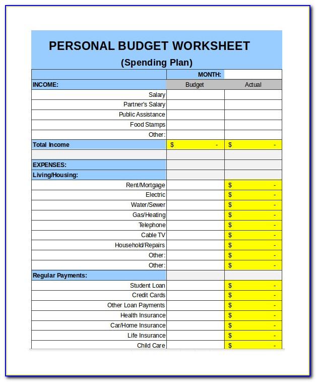 Personal Expenses Spreadsheet Sample