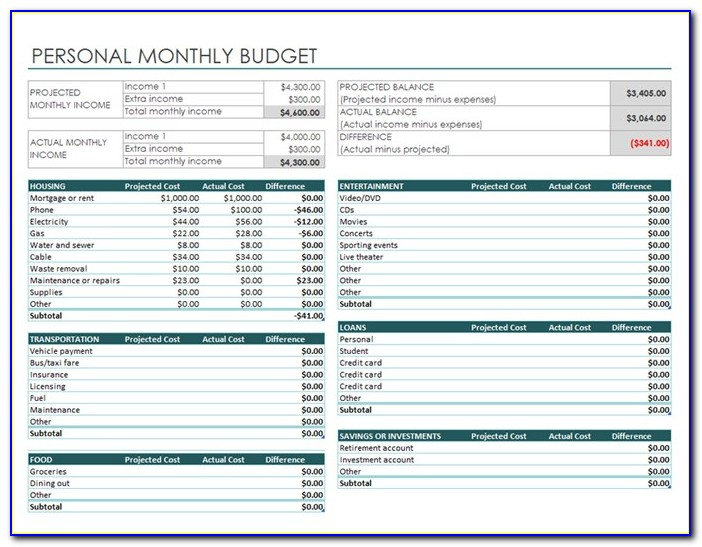 Personal Expenses Templates Free Excel