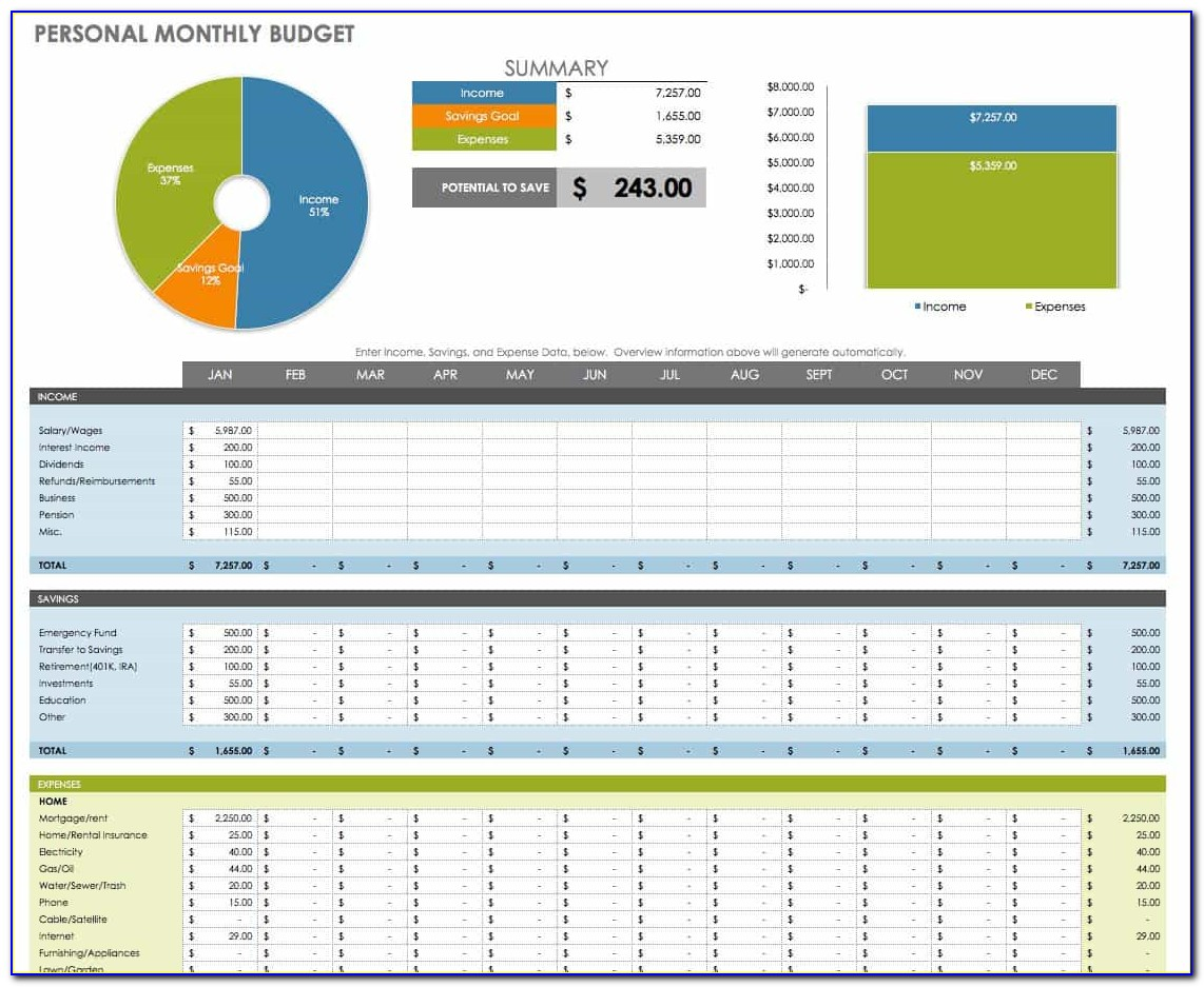 Personal Financial Planning Templates Excel Free