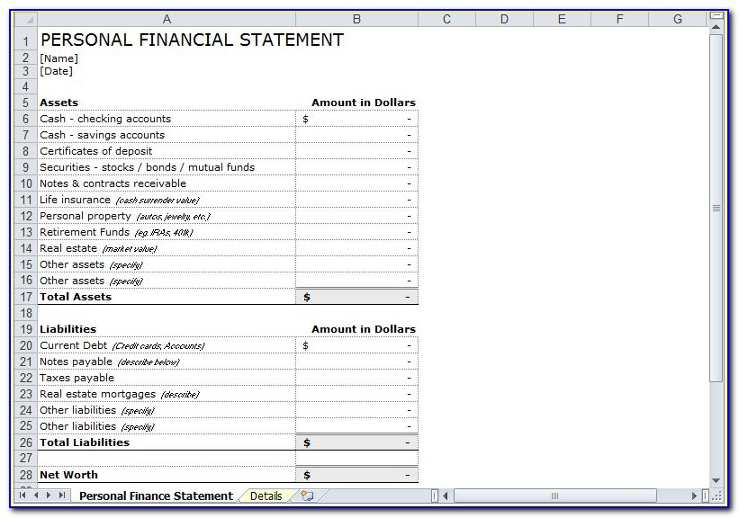 Personal Financial Statement Template Excel