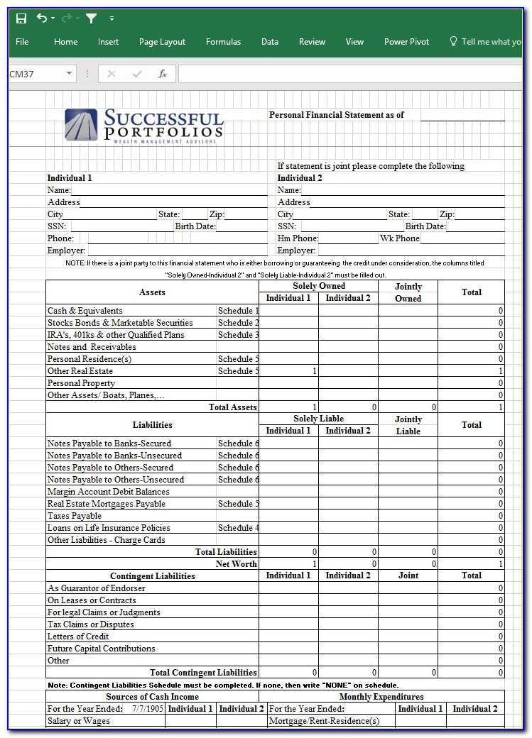 Personal Financial Statements Template Excel