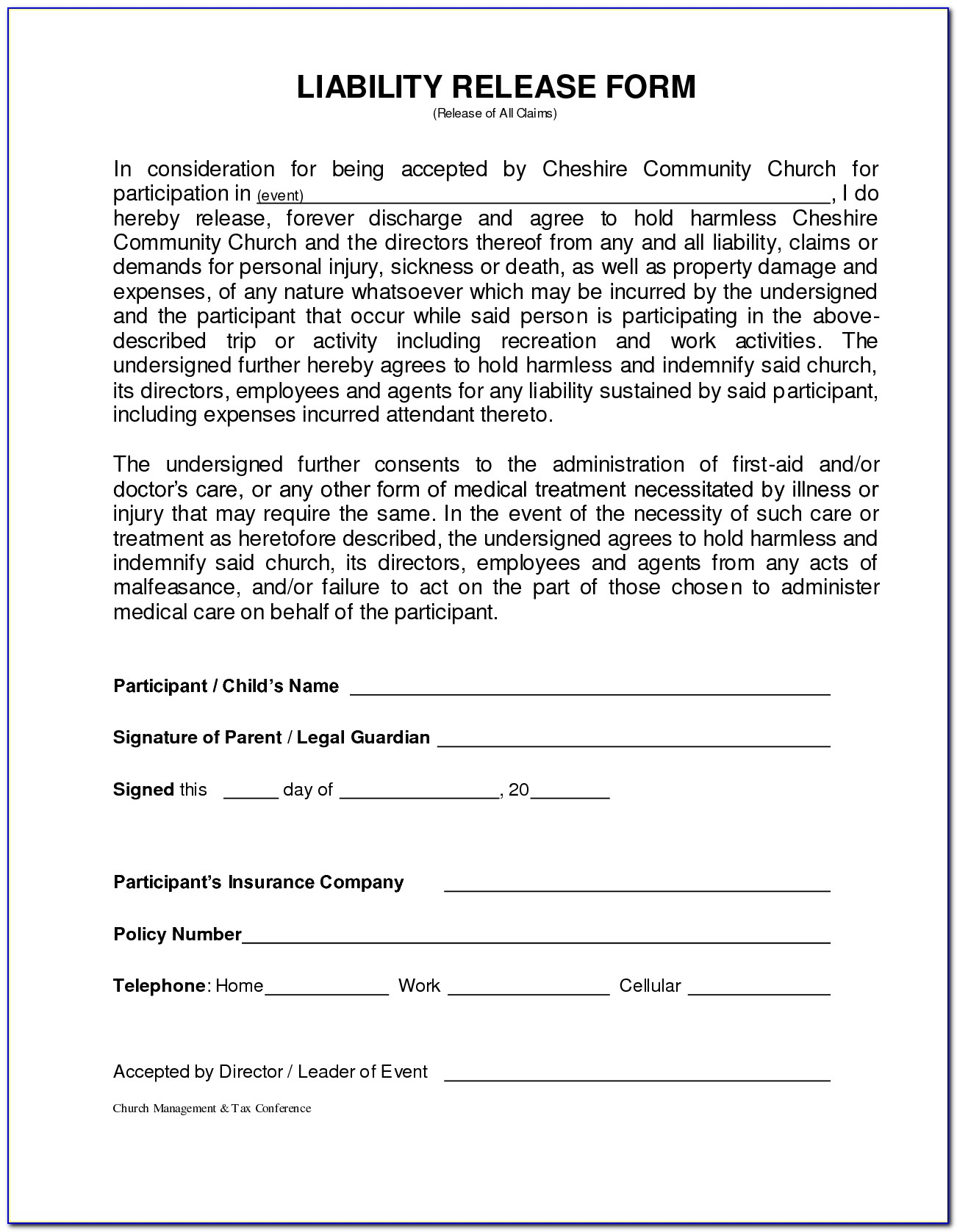 Personal Injury Waiver Form Template