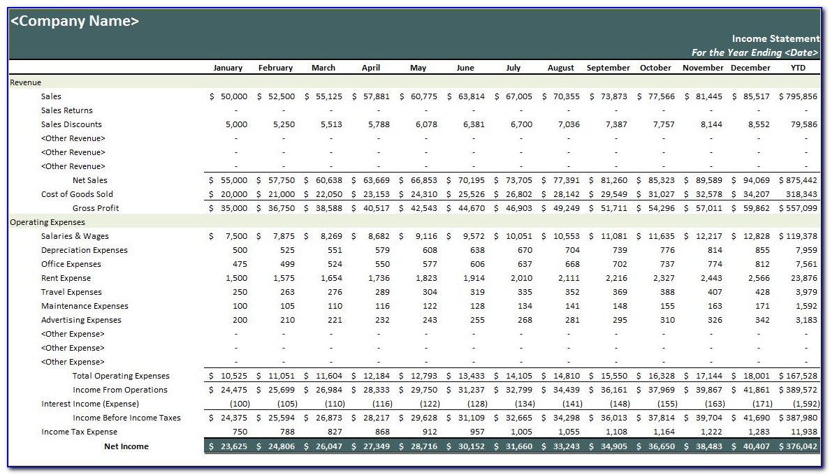 Personal Monthly Income Statement Template Excel