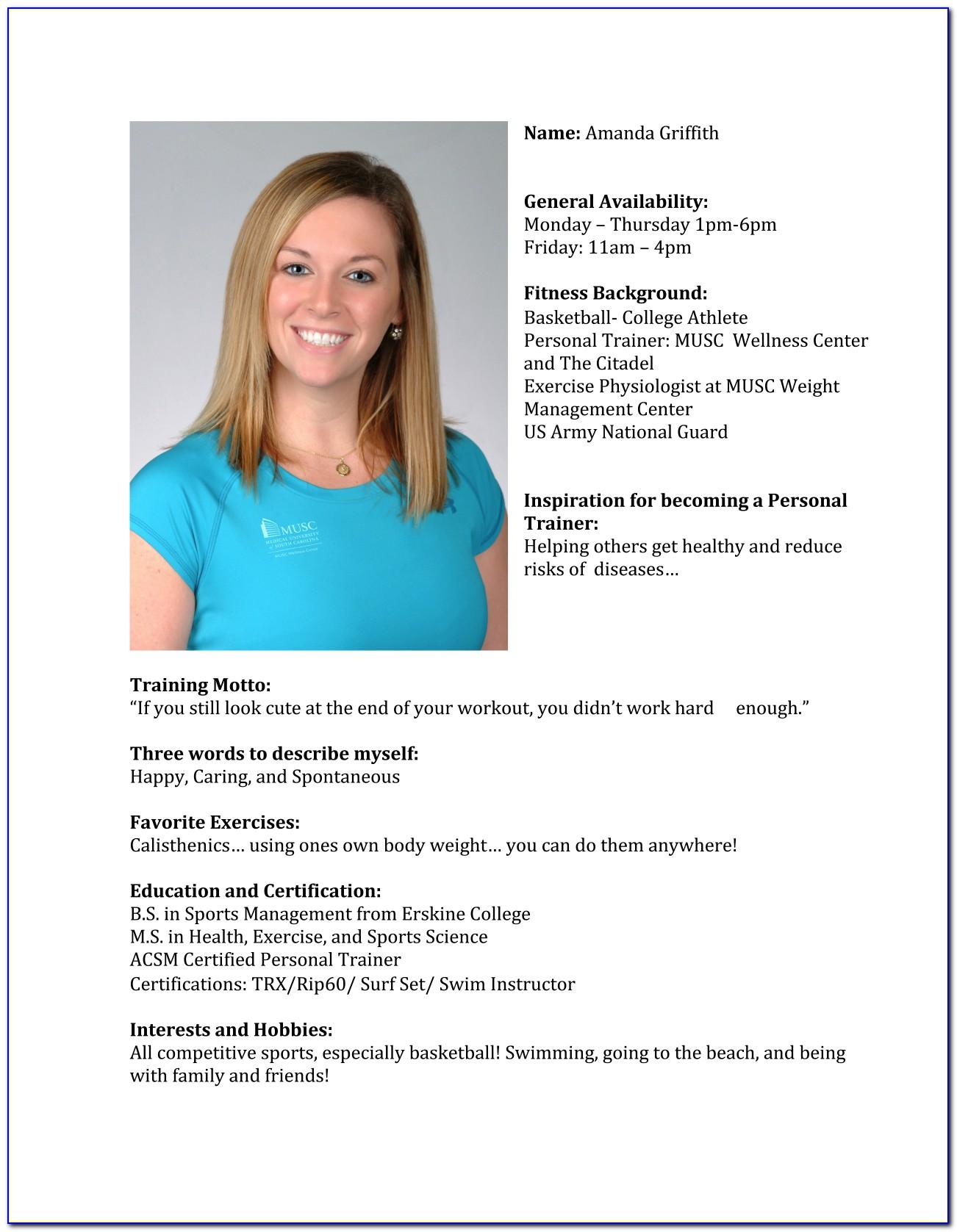 Personal Trainer Bio Example