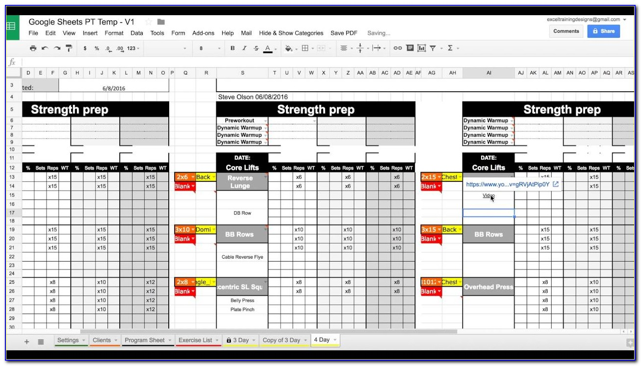 Personal Trainer Fitness Plan Template