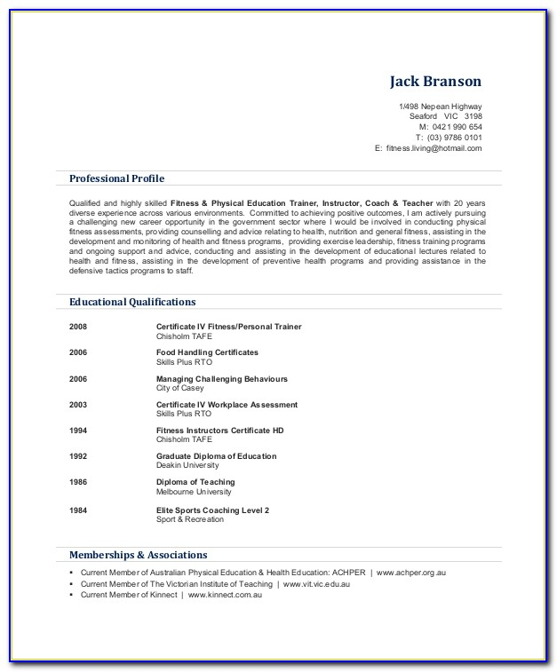 Personal Trainer Resume Sample Pdf