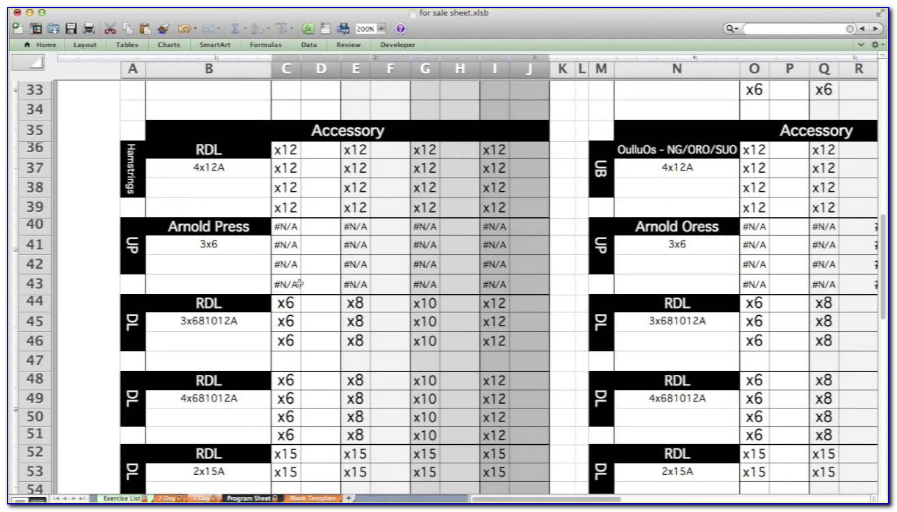 Personal Trainer Spreadsheet Template