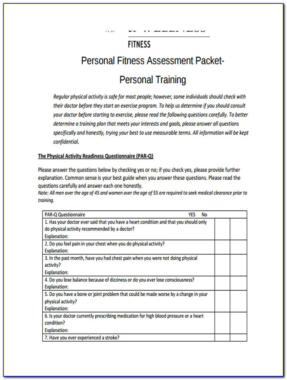 Personal Training Assessment Example