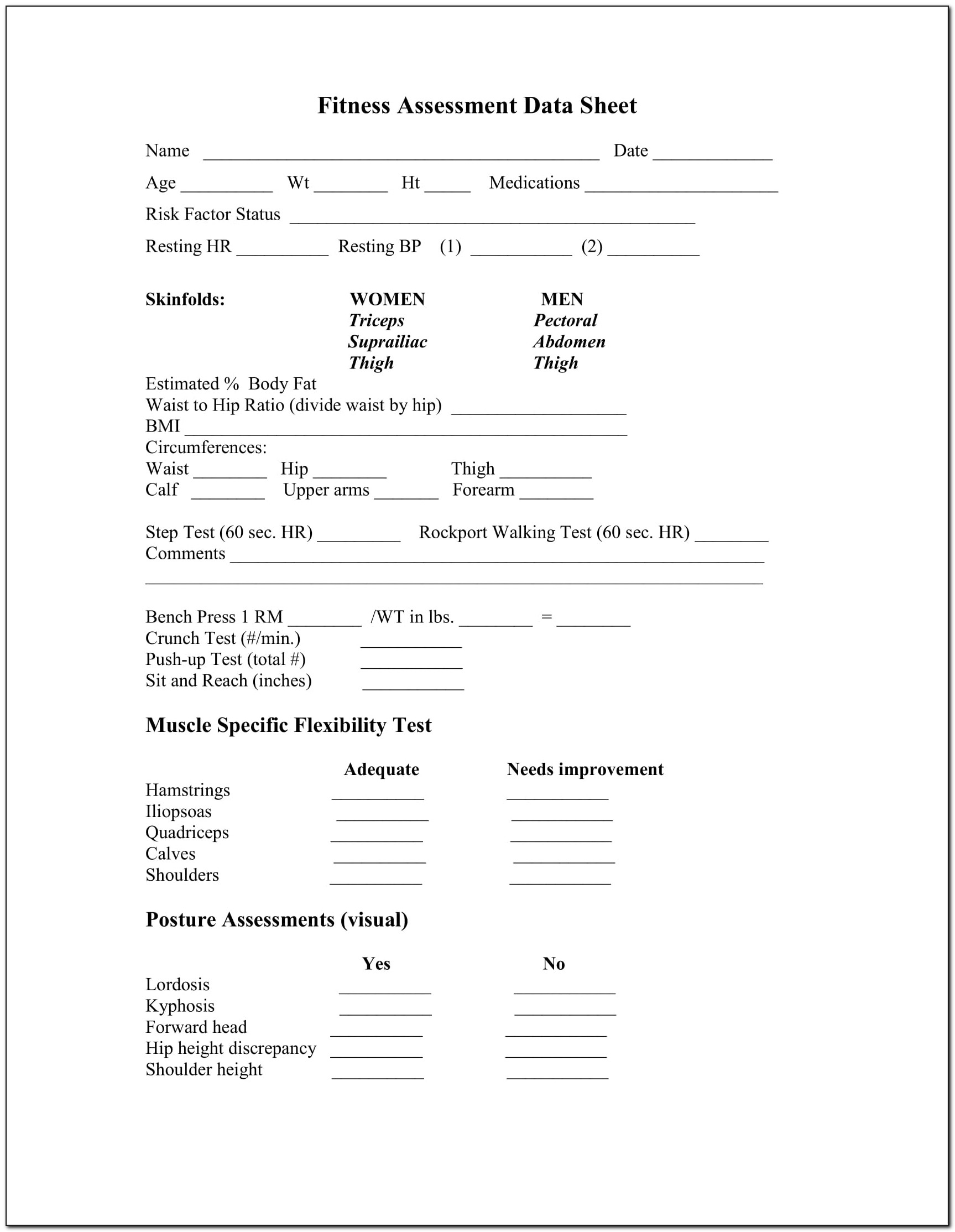 Personal Training Fitness Assessment Forms