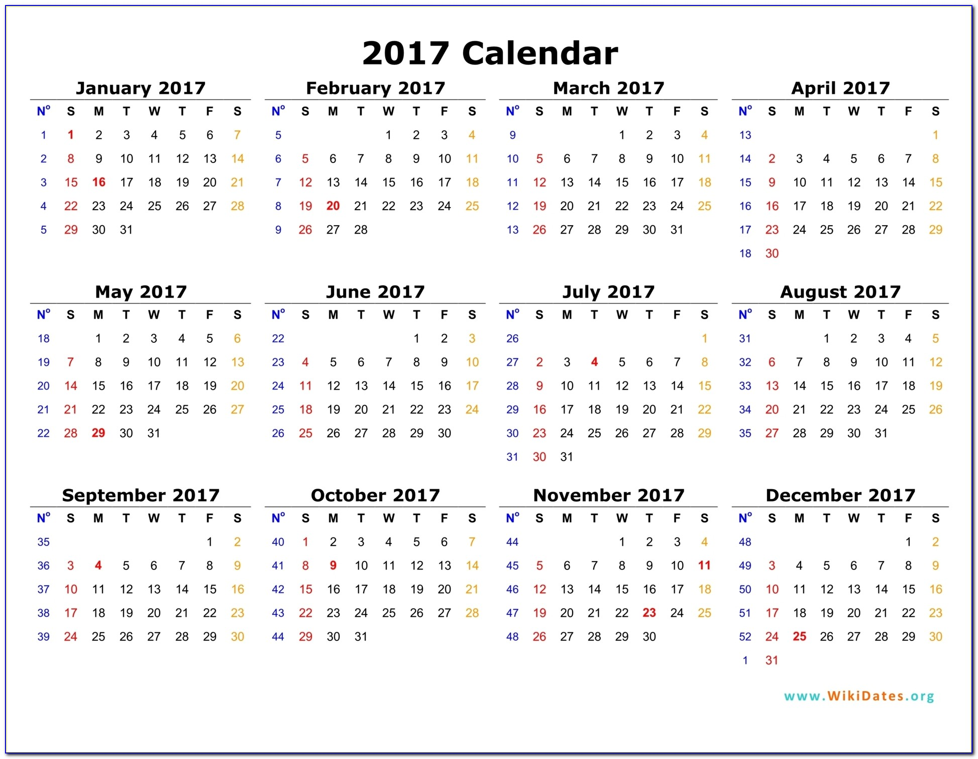 Personalized Calendar Template 2017