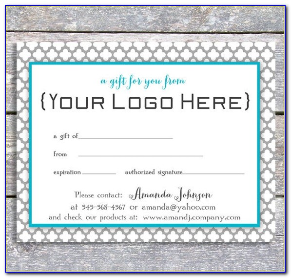 Personalized Gift Certificates Template Free