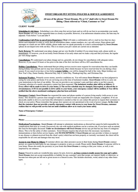Pet Sitter Contract Template