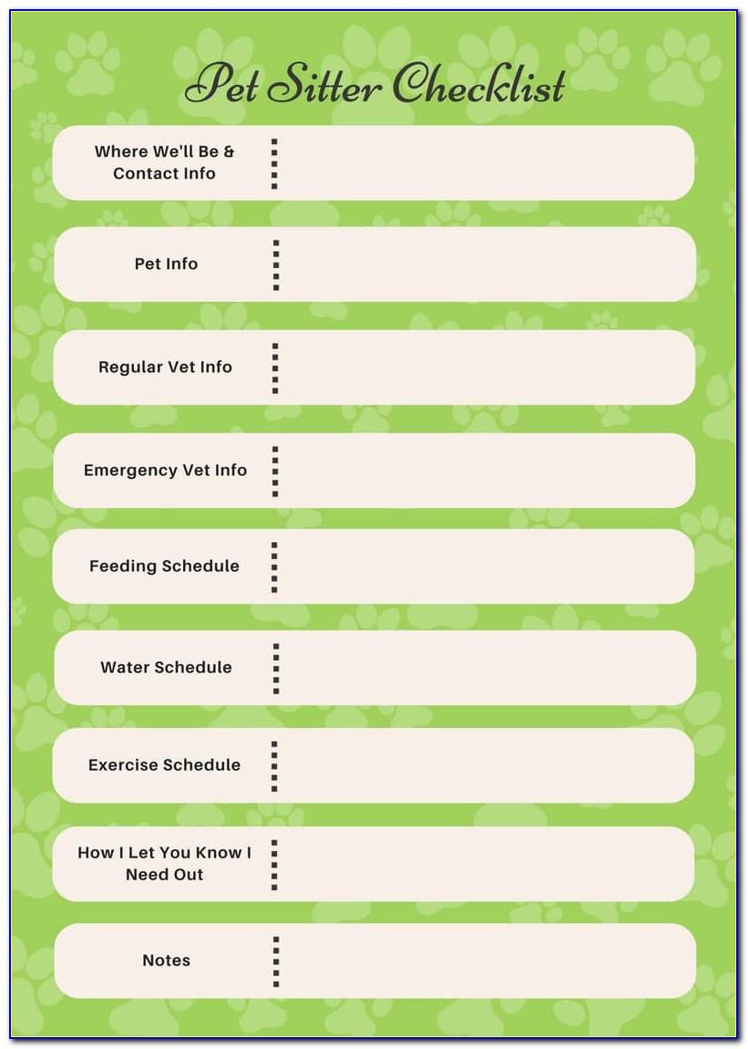 Pet Sitting Checklist Template