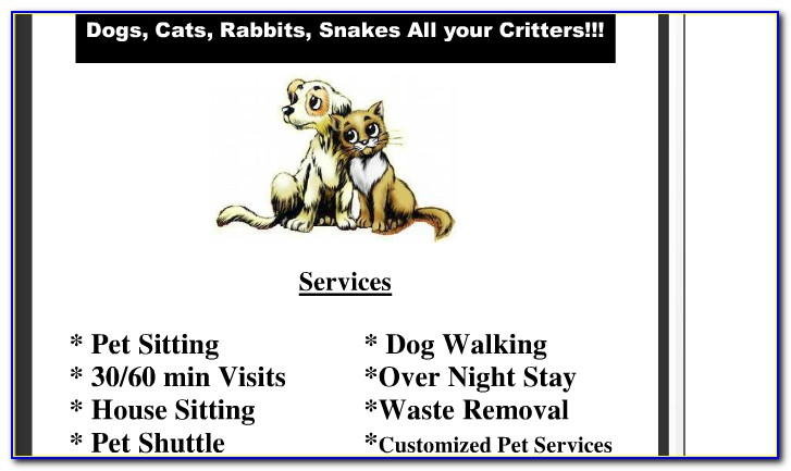 Pet Sitting Instructions Template Free