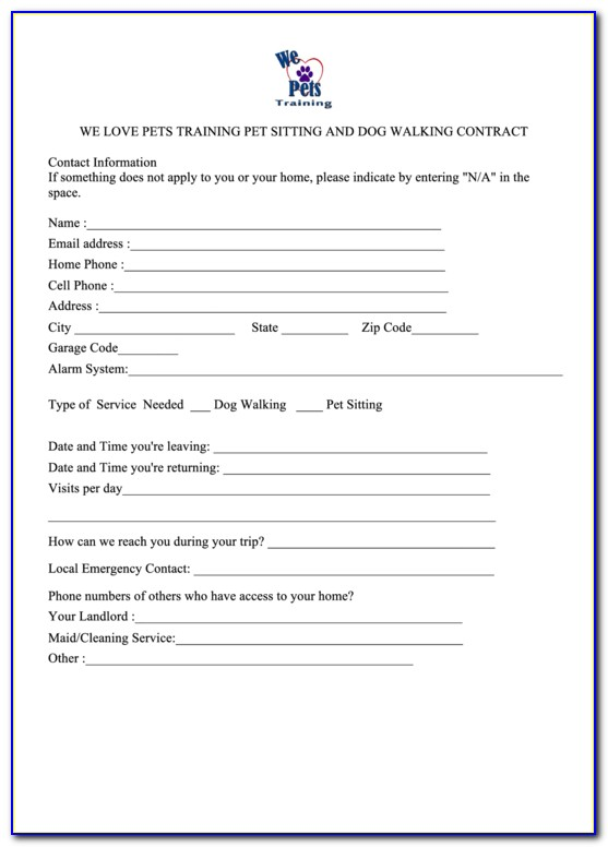Pet Sitting Service Agreement Contract Template