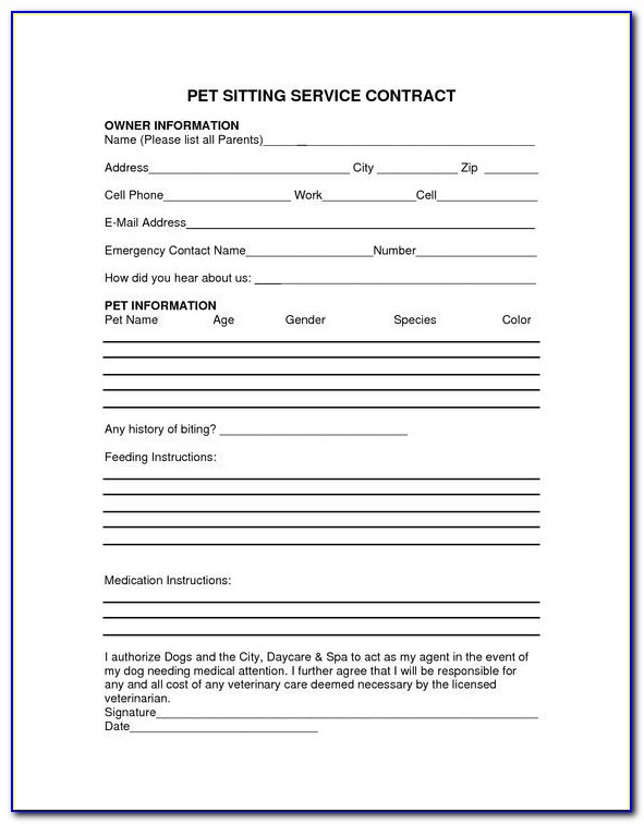 Pet Sitting Service Contract Template