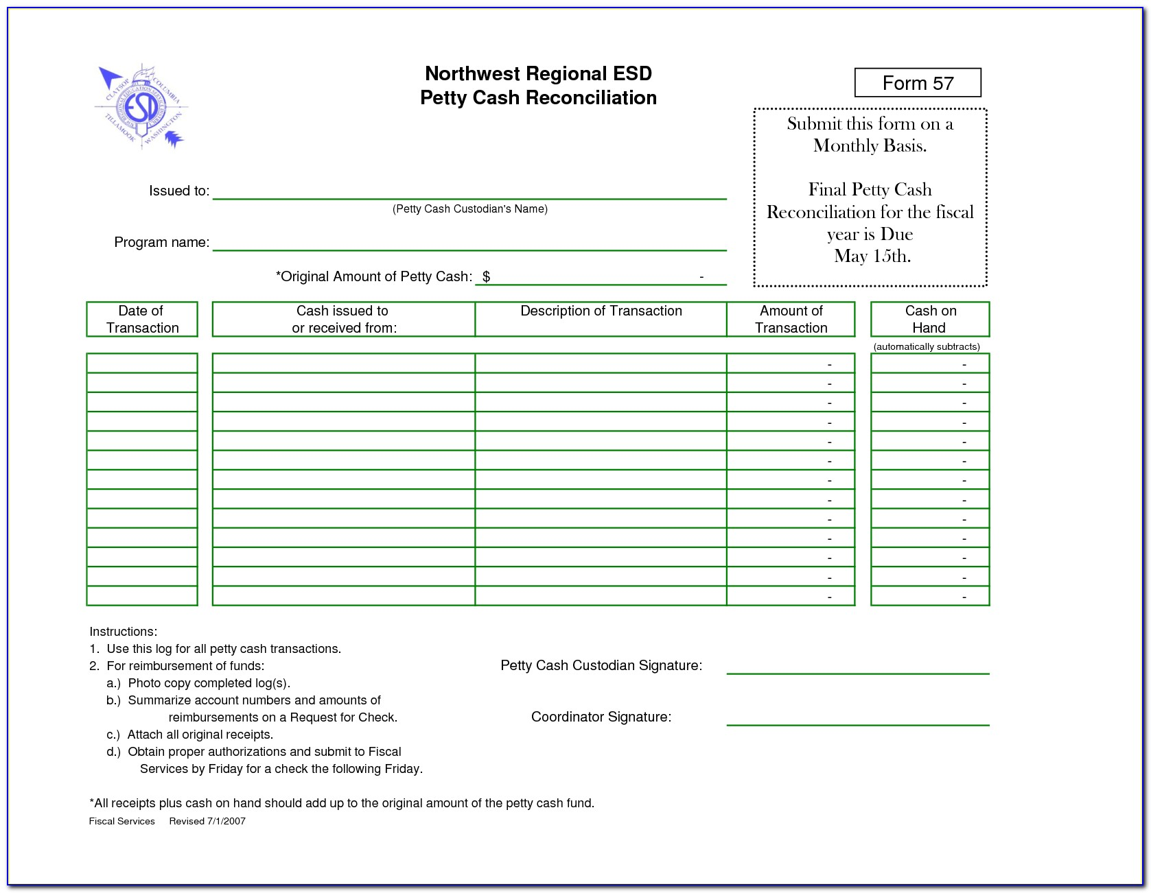Petty Cash Reconciliation Template Excel Australia