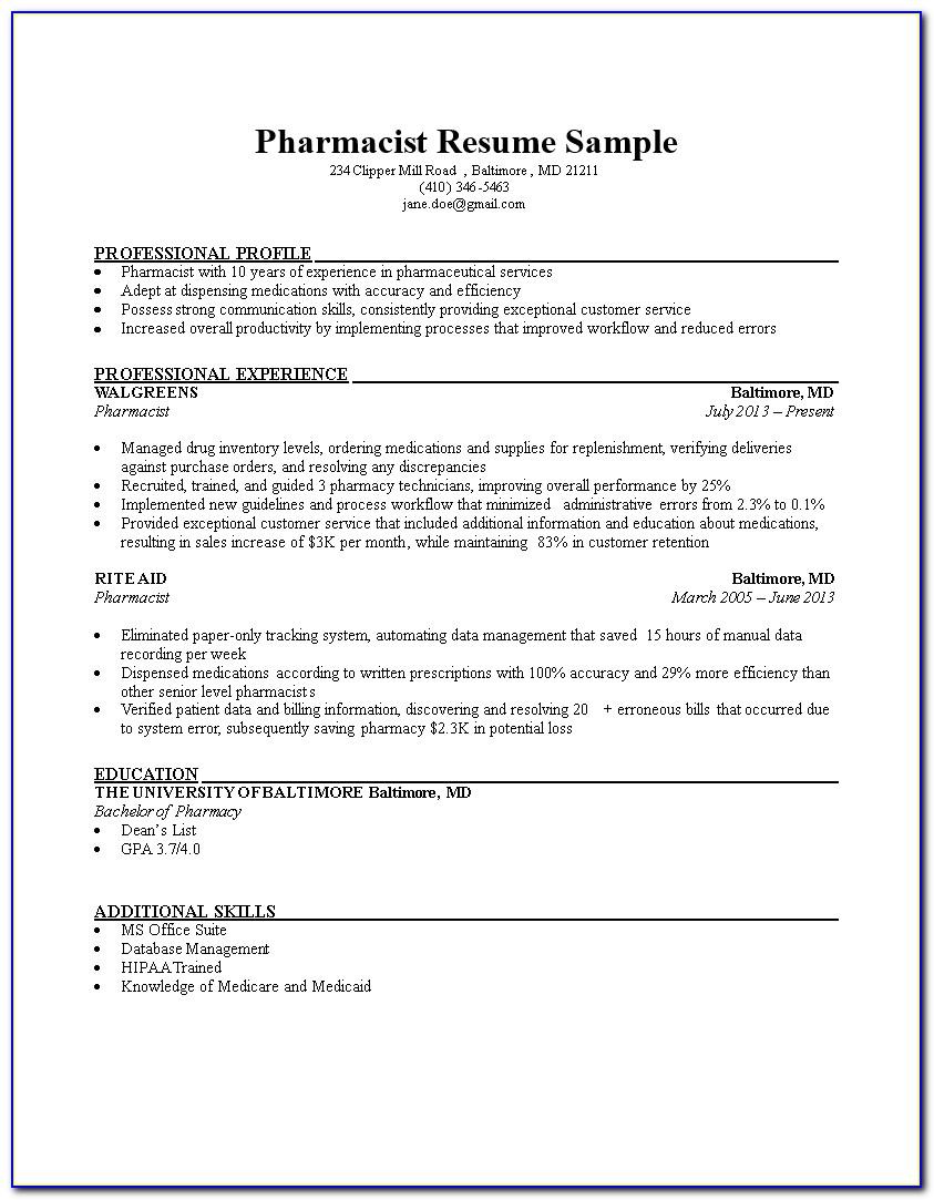 Pharmacist Resume Samples Free
