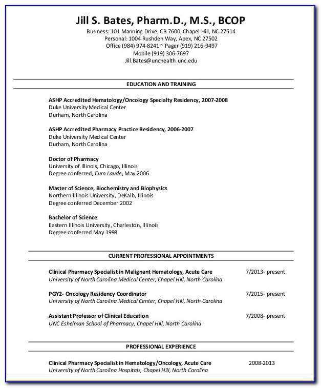 Pharmacy Intern Resume Template