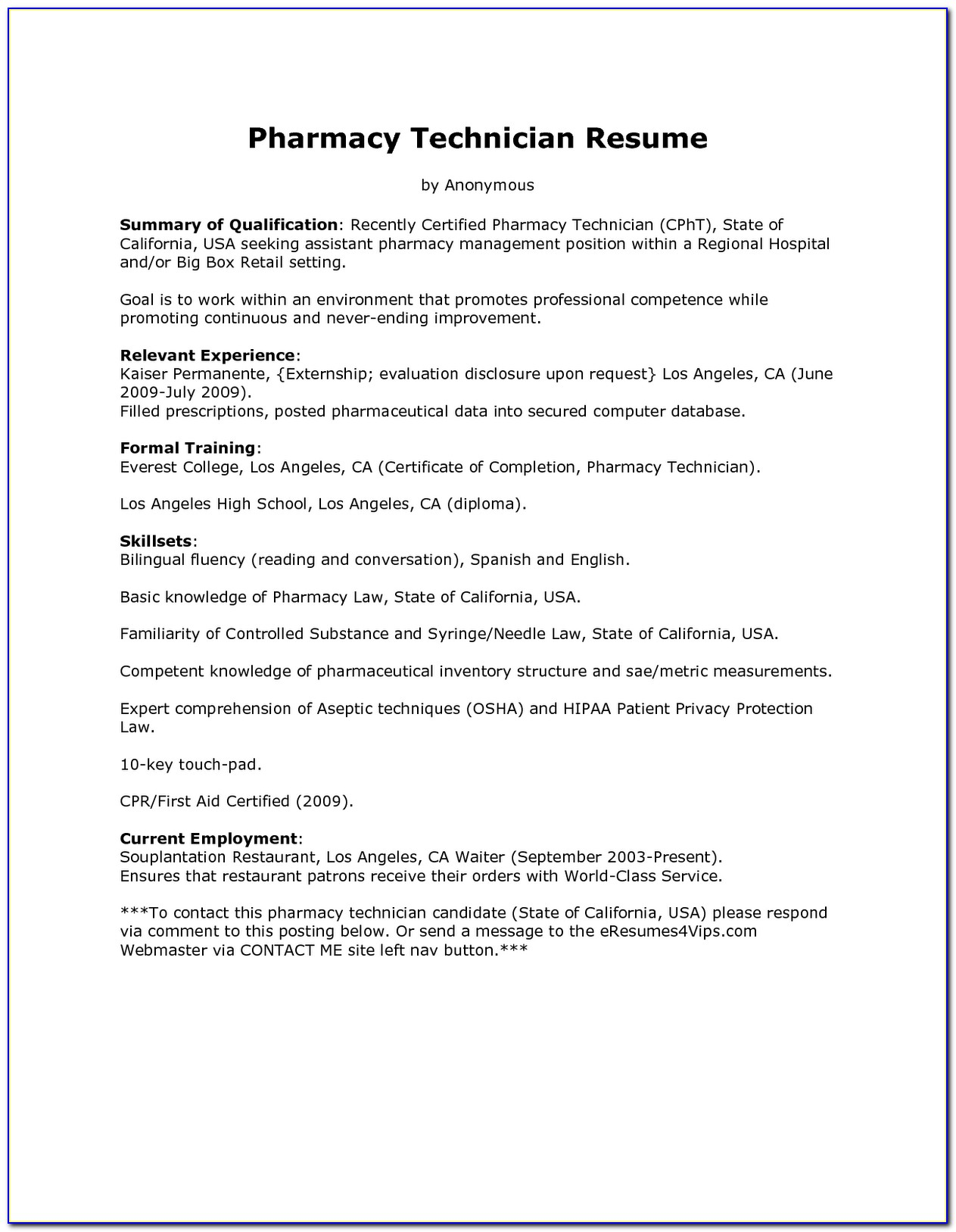 Pharmacy Technician Cv Template Uk