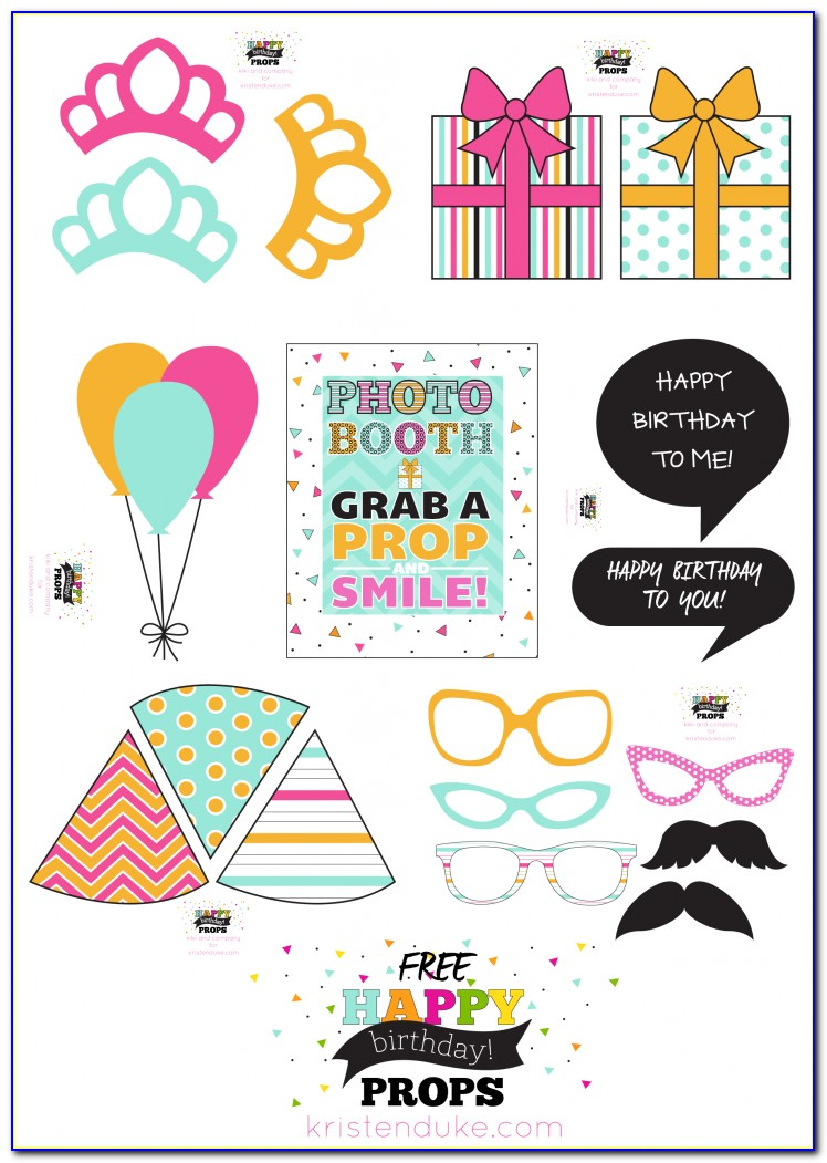 Photo Booth Props Birthday Template