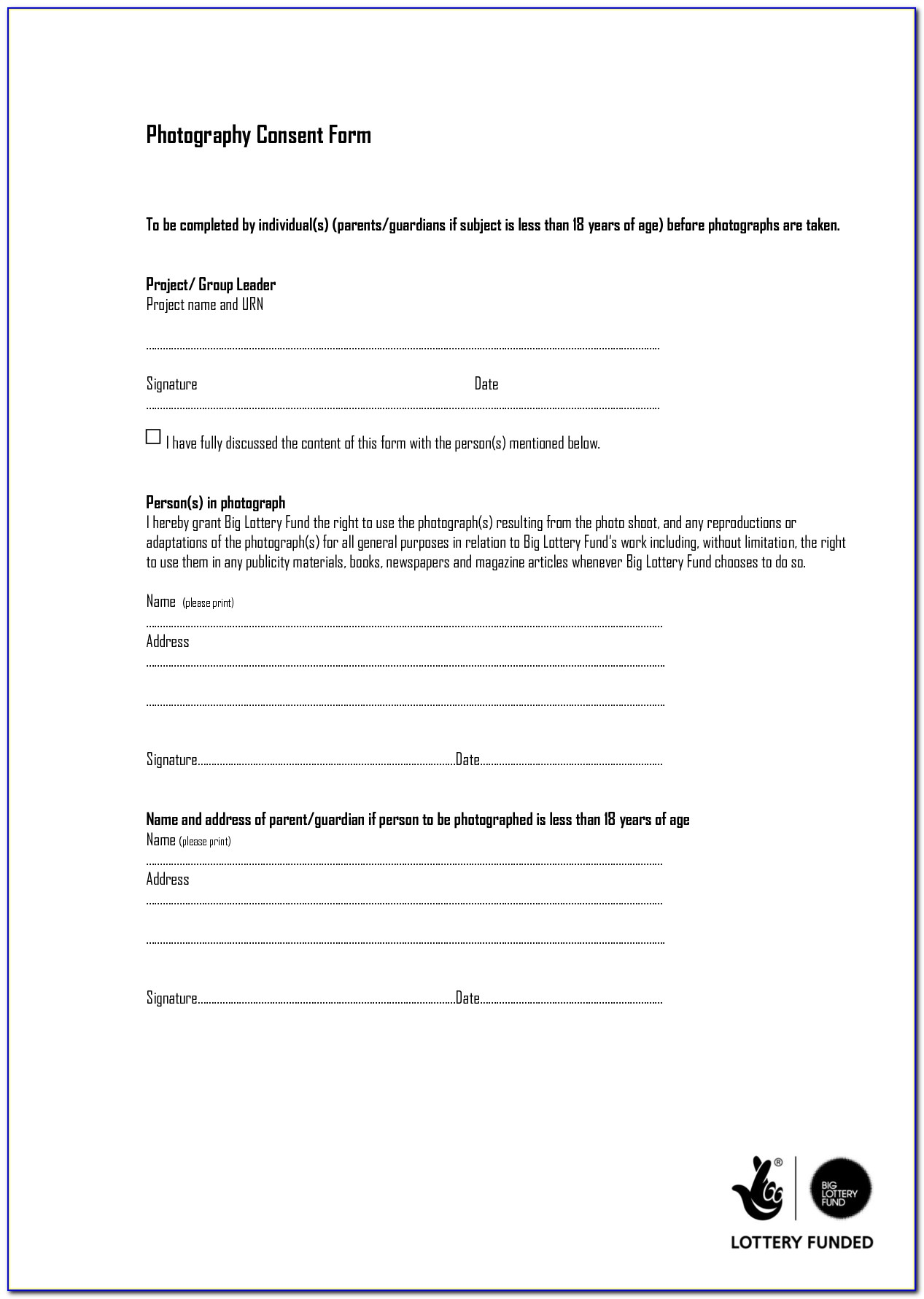 Photo Waiver Form Template