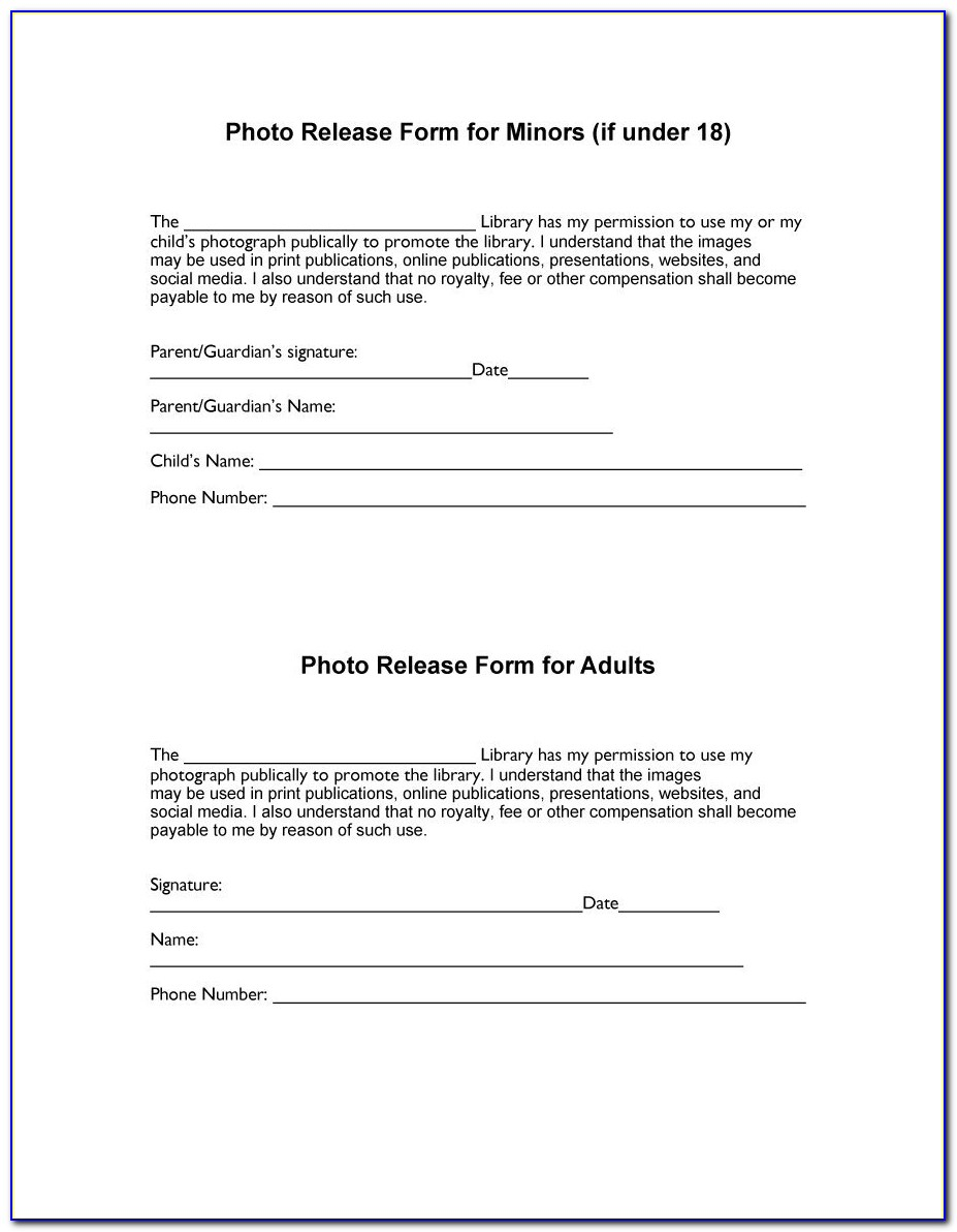 Photograph Release Form Template