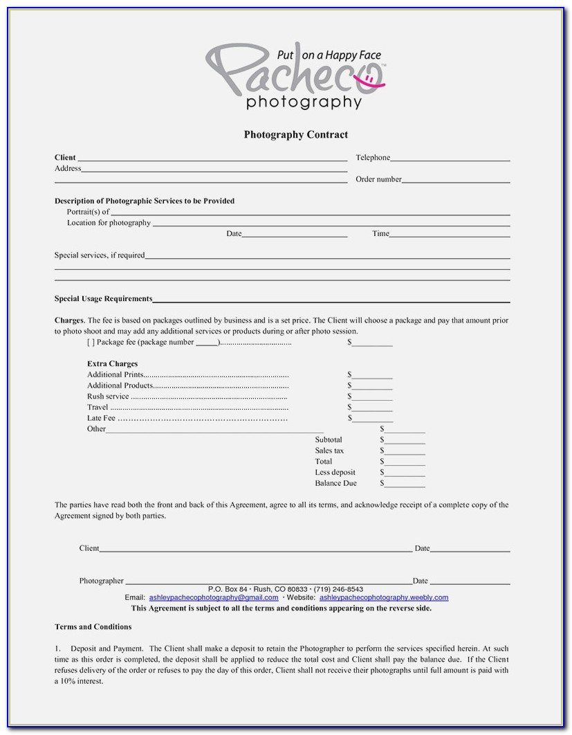 Photographer Contract Template Canada