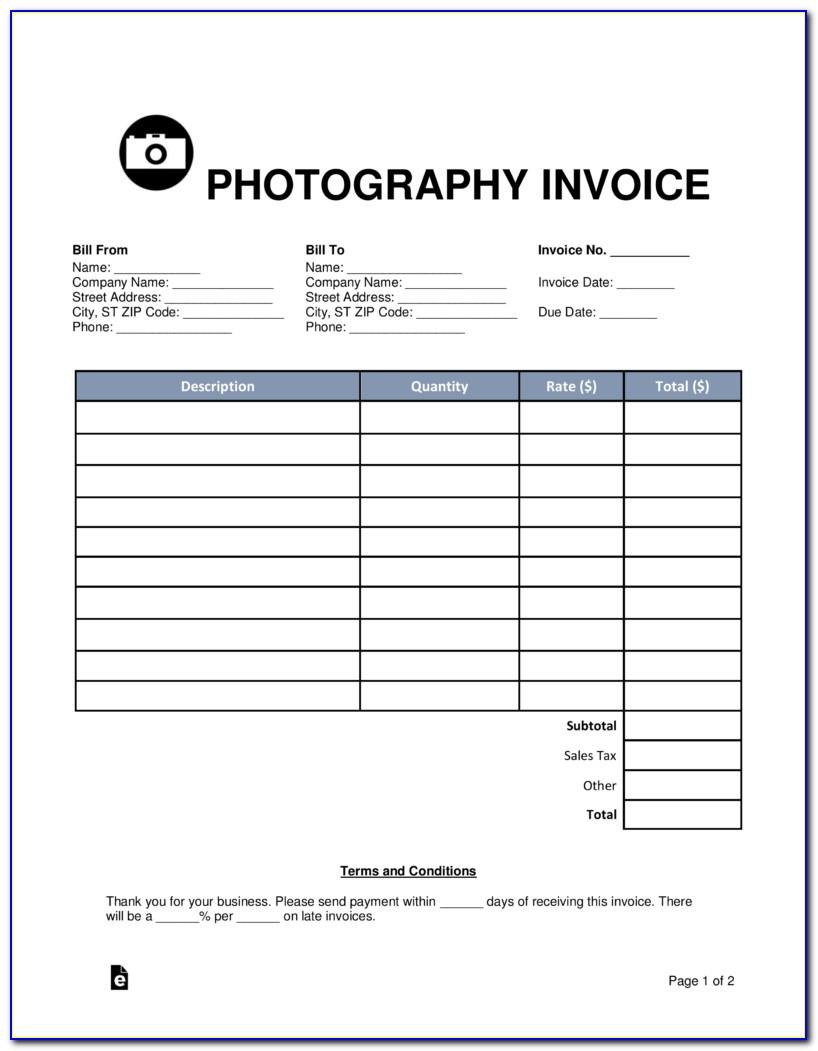 Photographer Invoice Template Pdf