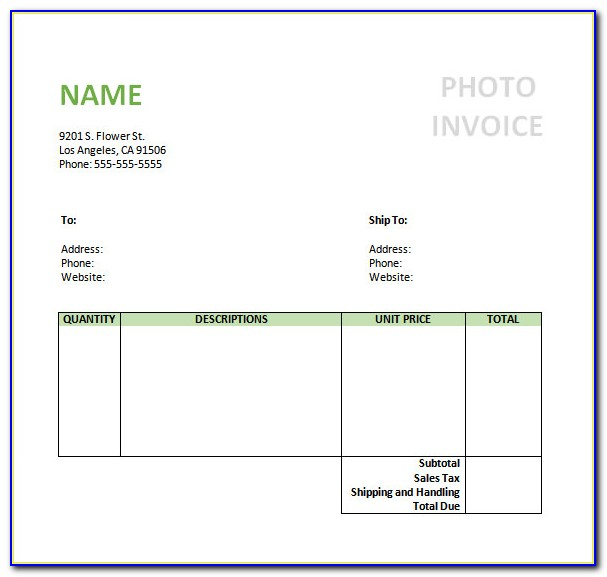 Photographer Invoice Template Psd