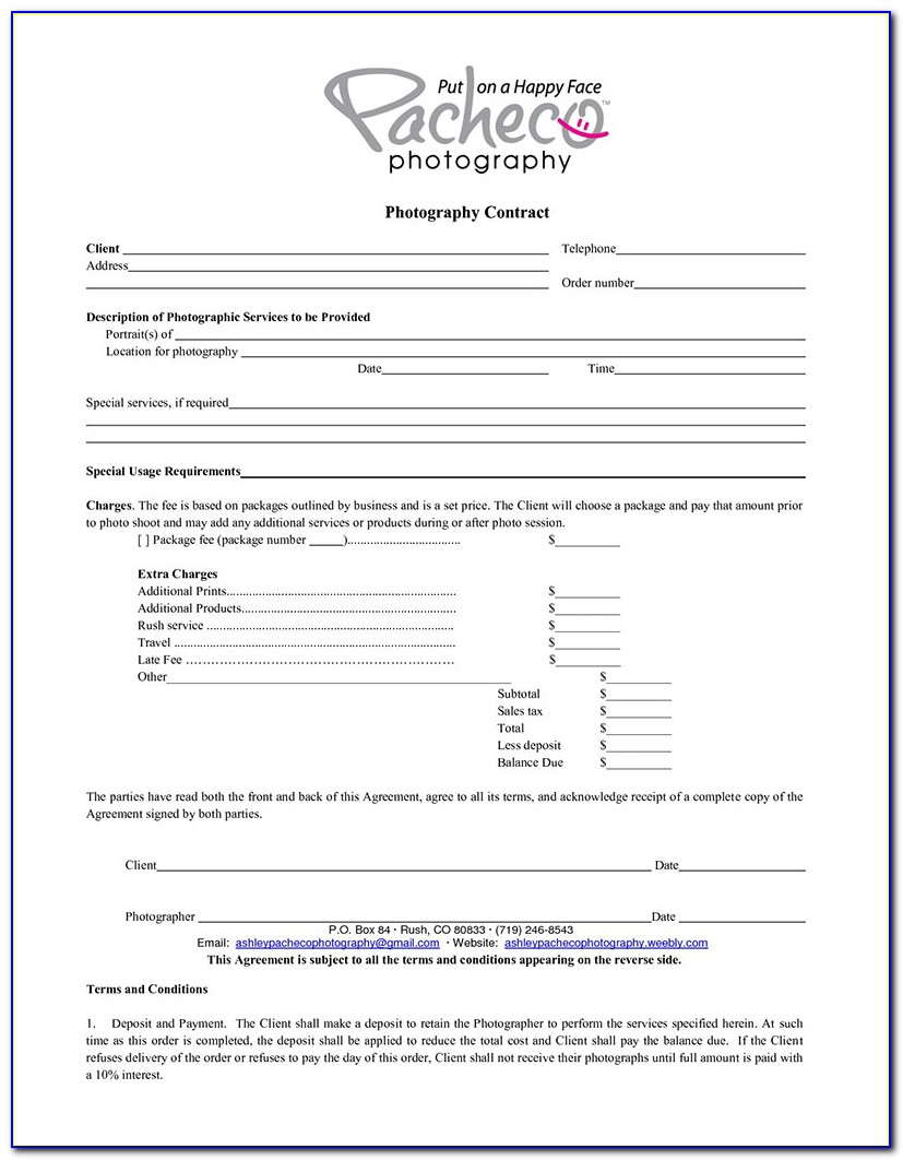 Photography Contract Template For Events