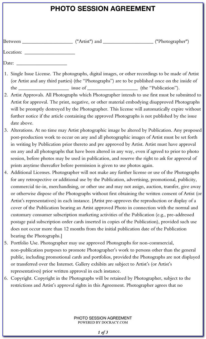 Photography Contract Template For Weddings