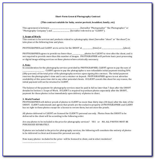 Photography Contract Template Free Download