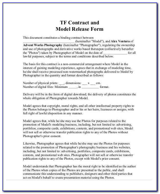 Photography Contracts Template Uk