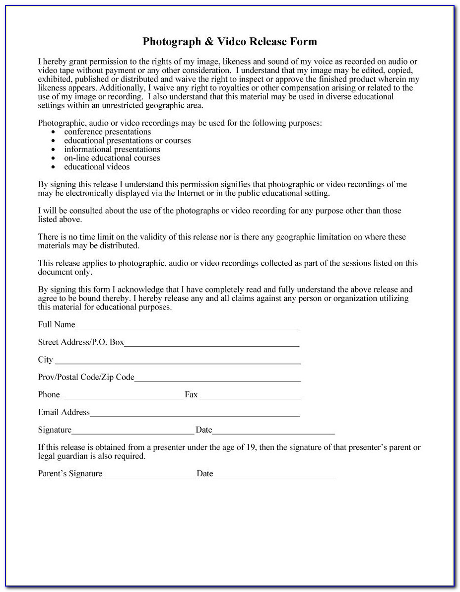 Photography Model Release Form Template