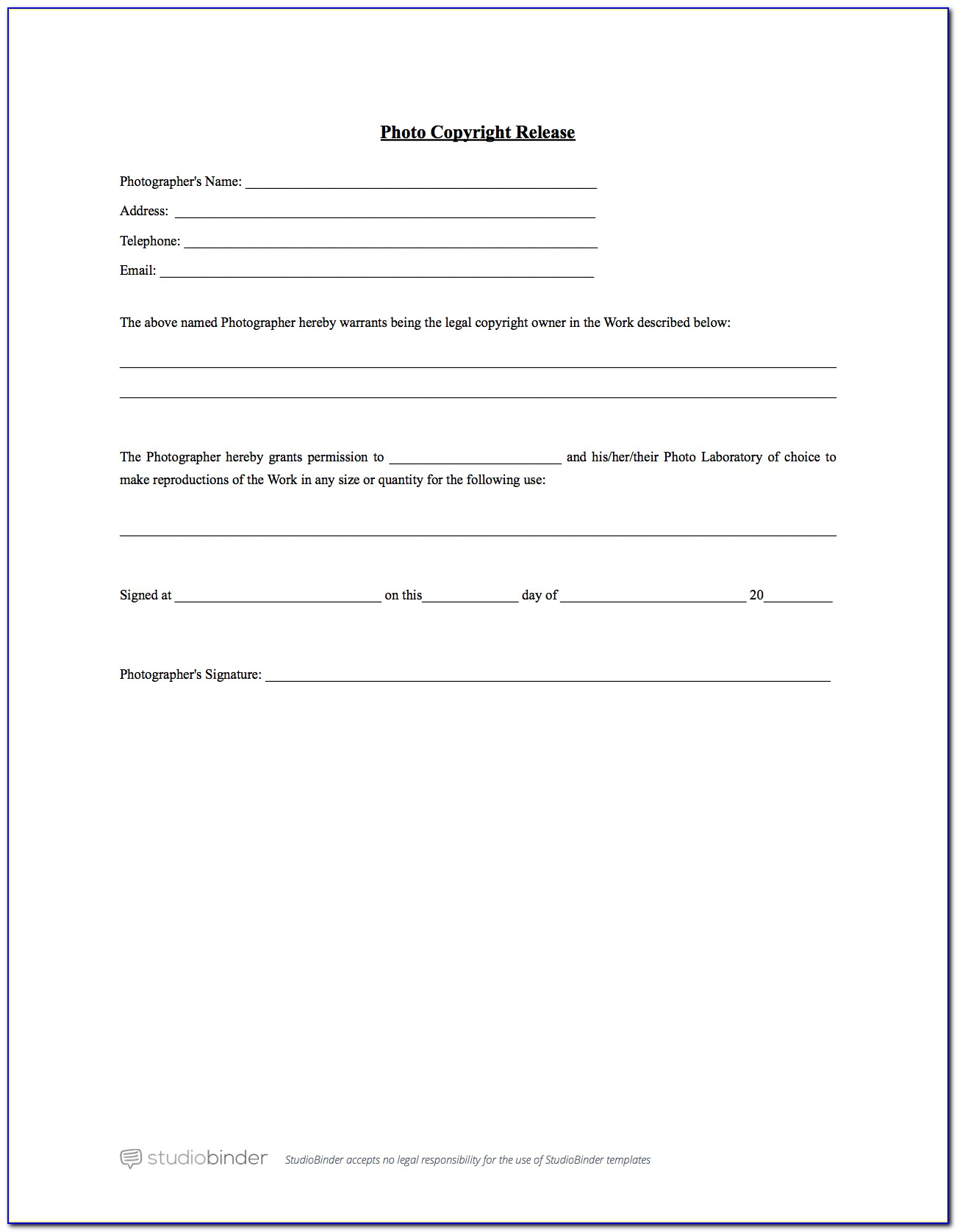 Photography Release Form Australia Template