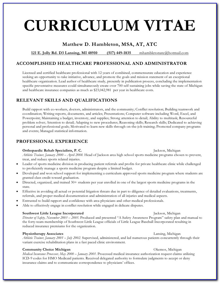 Physician Curriculum Vitae Example