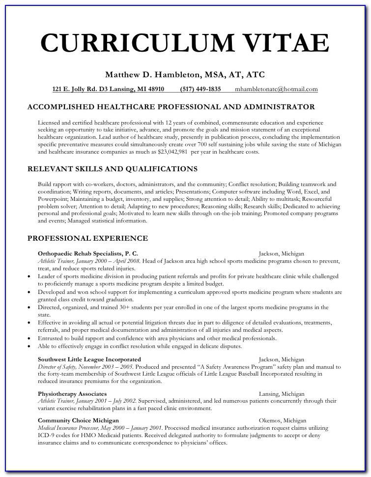 Physician Curriculum Vitae Sample