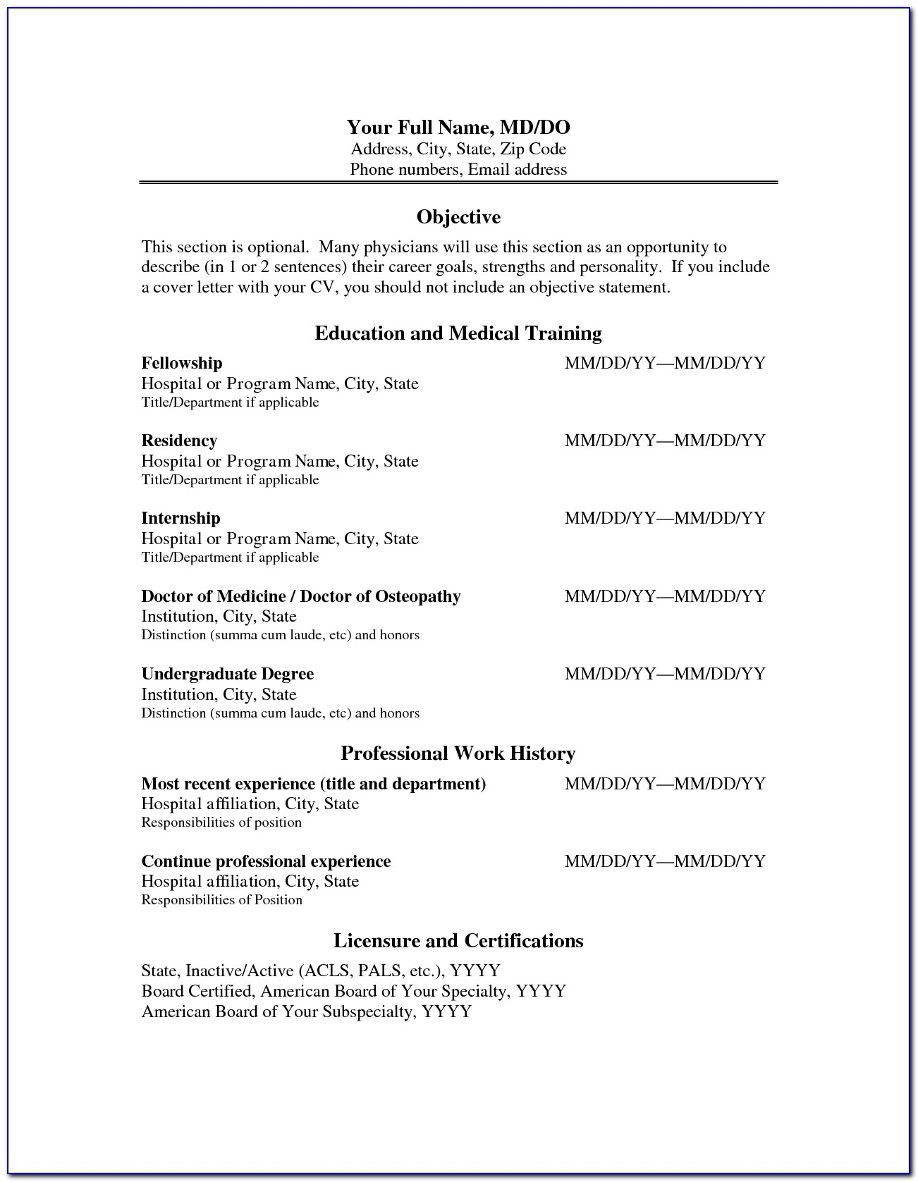 Physician Curriculum Vitae Template Word