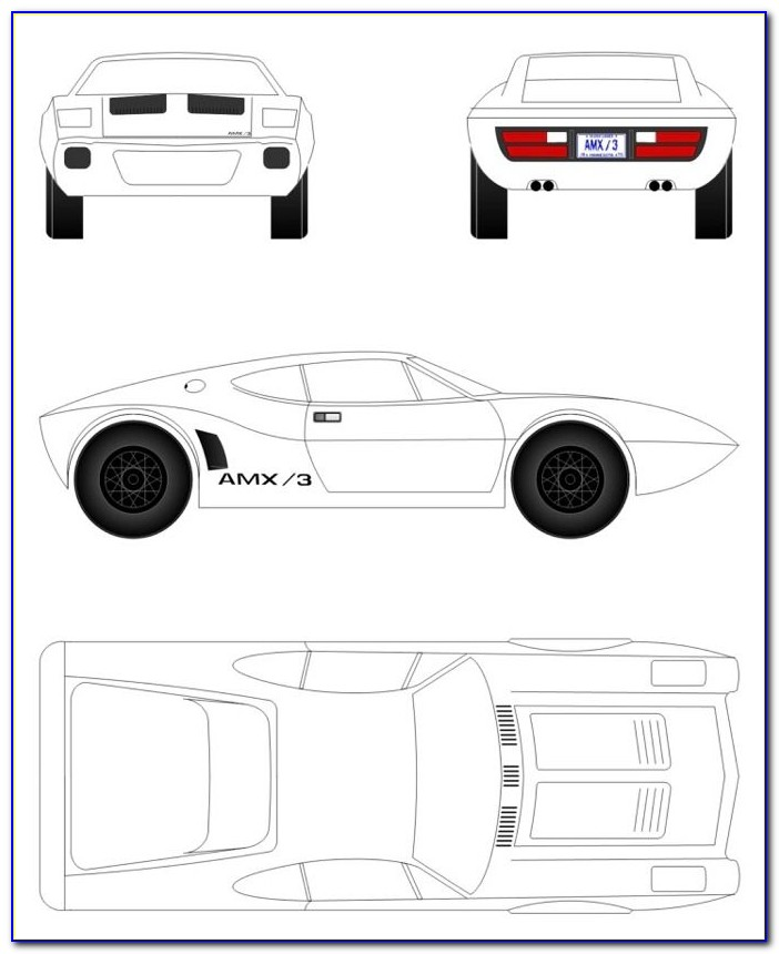 Pinewood Derby Car Mustang Template
