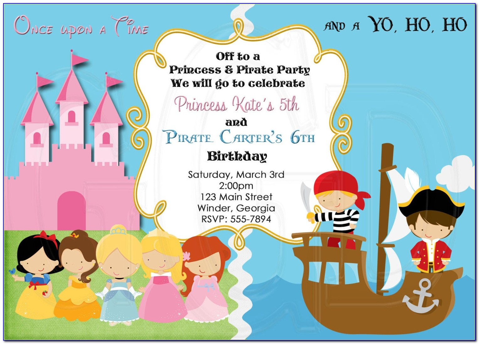 Pirate And Princess Invitation Template
