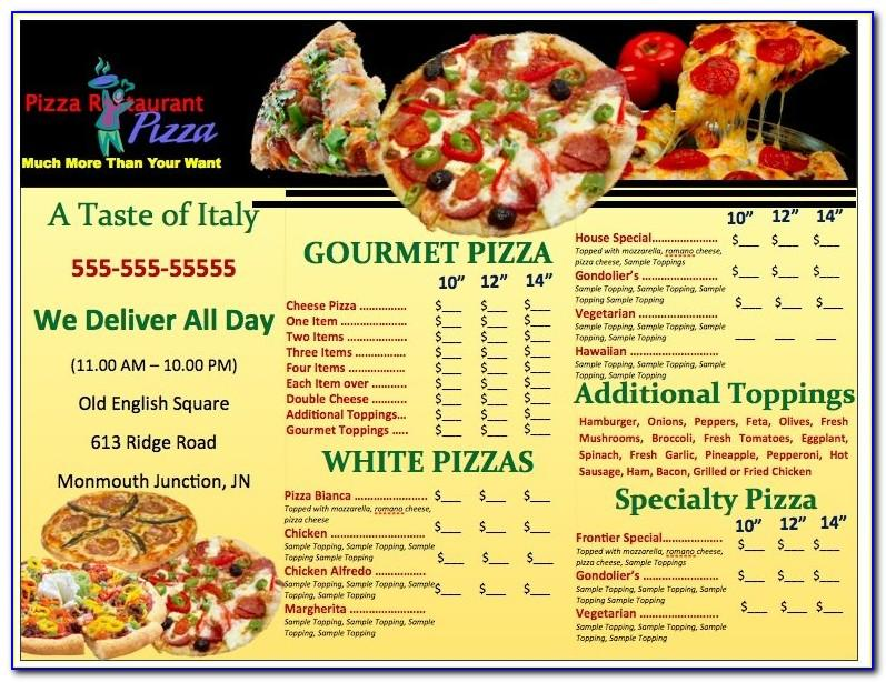 Pizza Menu Design Templates