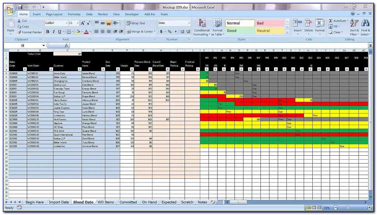 Planning Schedule Template Excel
