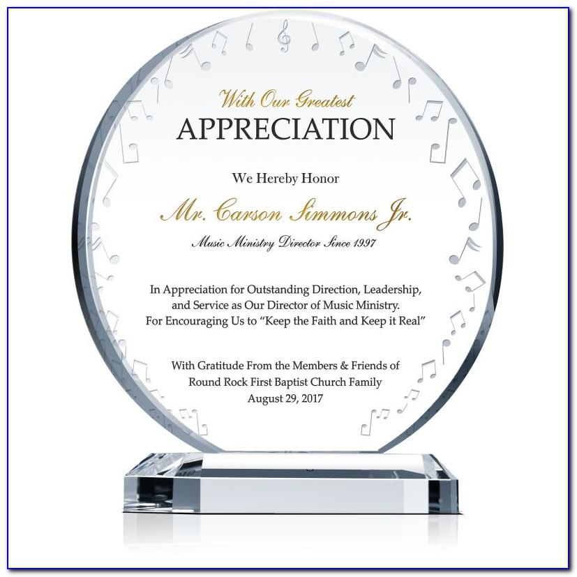 Plaque Of Appreciation Format