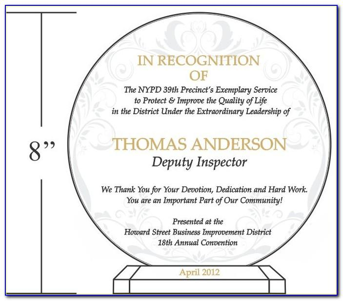 Plaque Of Appreciation Sample Design
