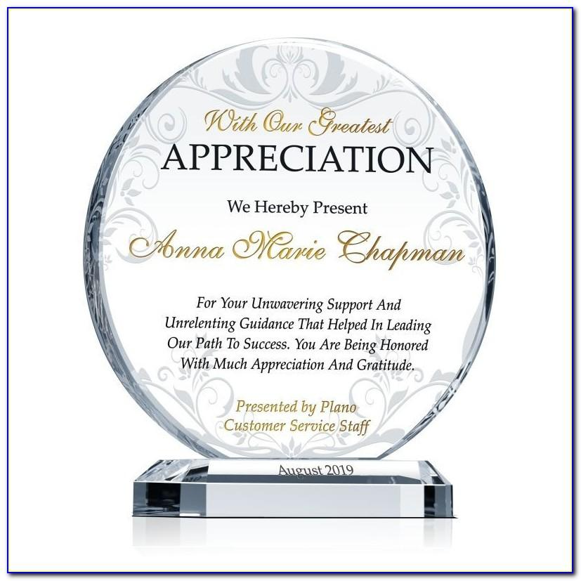Plaque Of Appreciation Template