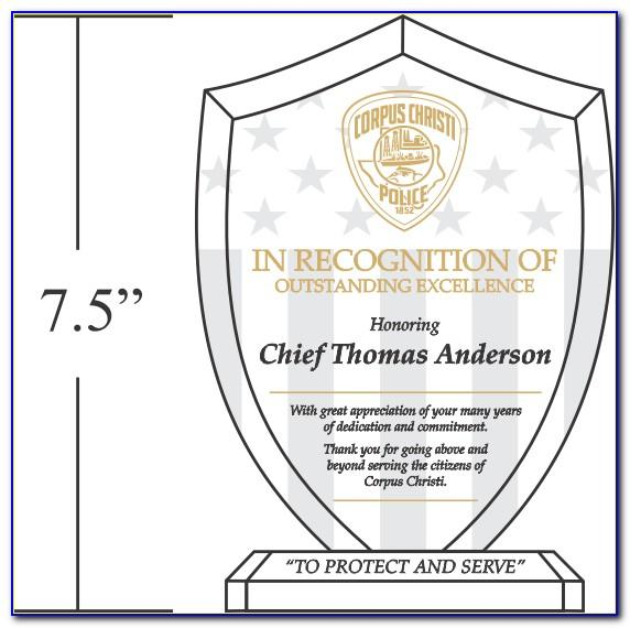 Plaque Of Recognition Sample Template