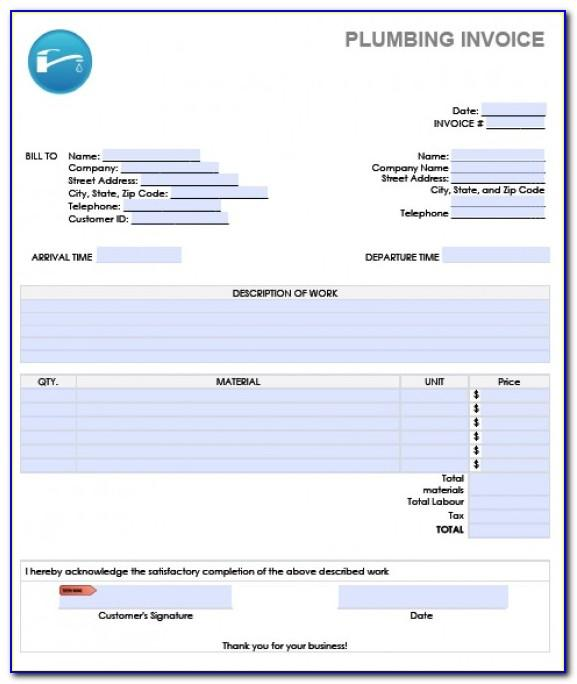 Plumbing Invoice Template Uk