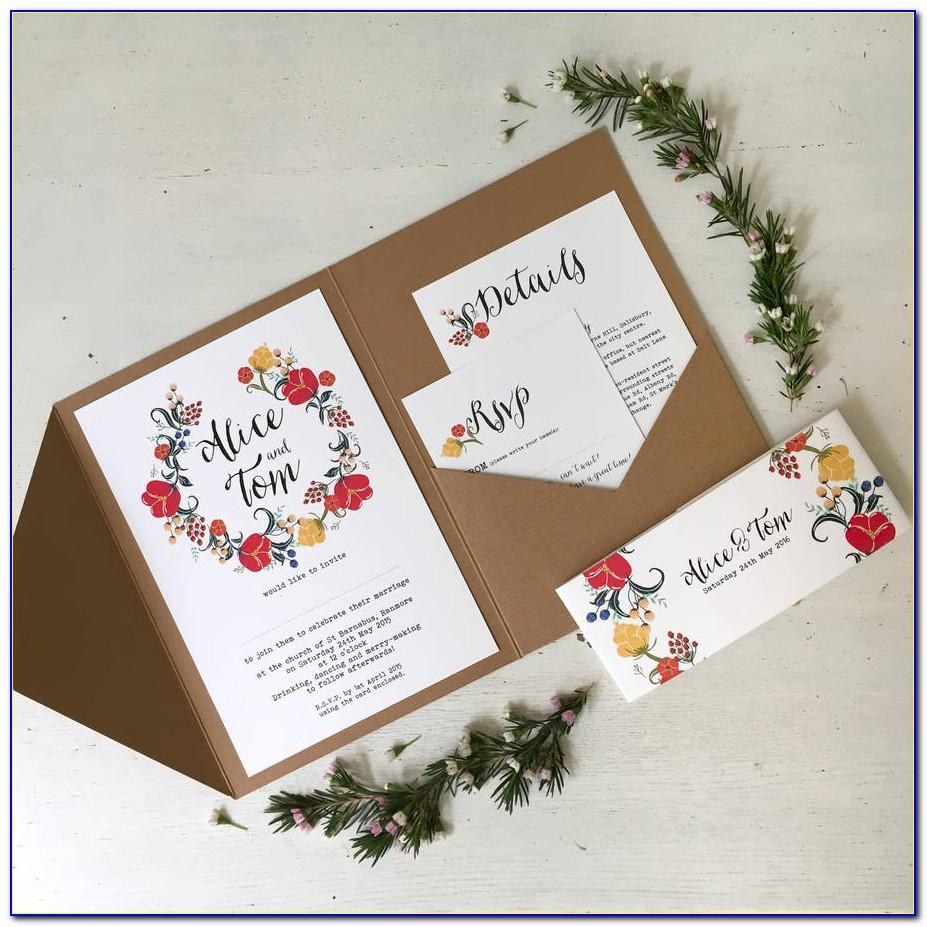 Pocketfold Wedding Invitation Wording